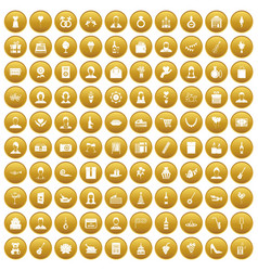 100 birthday icons set gold vector
