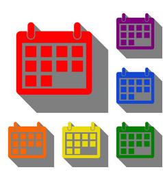 calendar sign set of red orange vector image