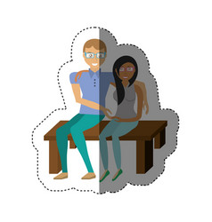 couple sitting together romance shadow vector image vector image