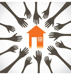 every hand try to catch the house vector image