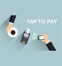 Pos terminal confirms payment from smartphone vector