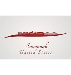 Savannah skyline in red vector