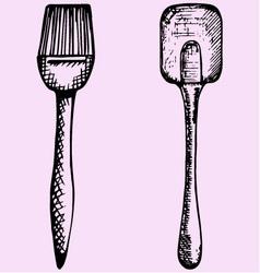 silicone brush baking cooking spatula vector image