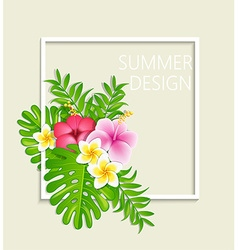 Summer frame with tropical flowers vector image vector image