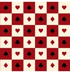 Card suits red cream chess board background vector