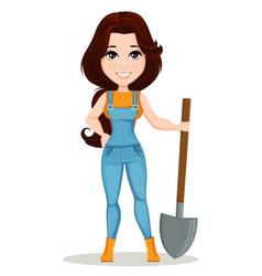 character beautiful farm woman 1 vector image vector image