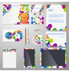Corporate identity template with colored vector image vector image