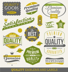 Guaranteed and quality - emblems and labels vector image vector image