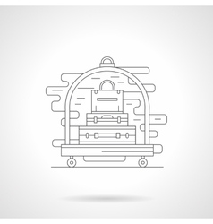 Luggage trolley detail line icon vector image vector image