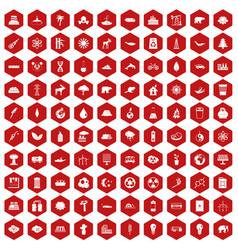 100 eco icons hexagon red vector
