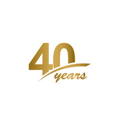 40 years anniversary elegant gold line vector