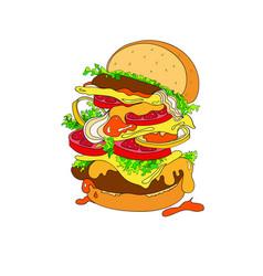 a fantastic hamburger bun vector image