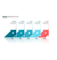 Arrows shaped timeline infographic template 5 vector
