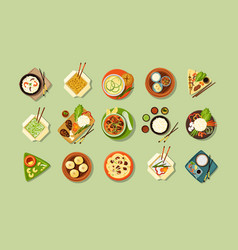 asian traditional cuisine and fast food set vector image