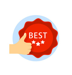 best choice icon with thumb up and emblem isolated vector image