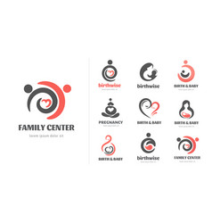 birth pregnancy family and bacare logos and vector image
