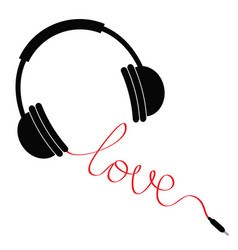 Black headphones with red cord in shape word vector