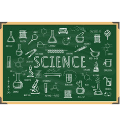 Board with school chemistry sketch vector