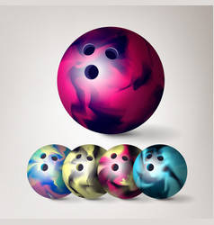 Bowling ball set 3d realistic vector