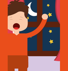 Boy waking up and stertching near window night vector