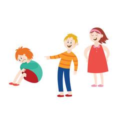 bullying of child boy sitting alone flat vector image