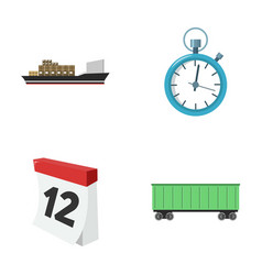 Cargo ship stop watch calendar railway car vector