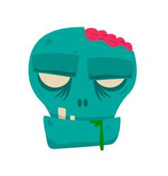 cartoon halloween zombie head design element for vector image