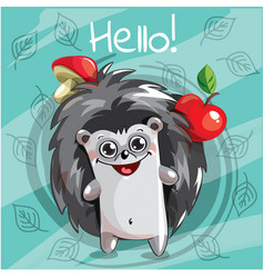 cartoon hedgehog hello vector image