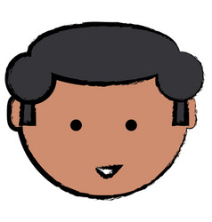 cartoon man face icon vector image