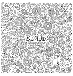 cartoon set of donuts objects and symbols vector image