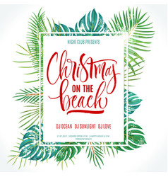 Christmas on the beach lettering vector