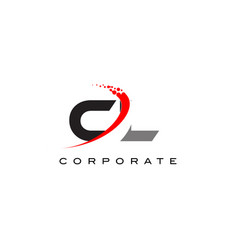 Cl modern letter logo design with swoosh vector