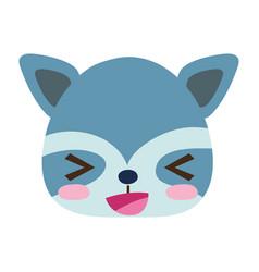 Coloful cheerful raccoon head wild animal vector