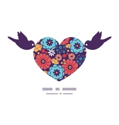 Colorful bouquet flowers birds holding heart vector