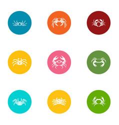 Crustacean icons set flat style vector