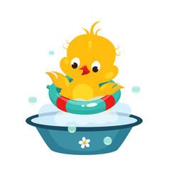 Cute duckling in bathroom vector