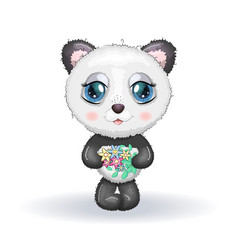 Cute little panda with big eyes and a bouquet vector