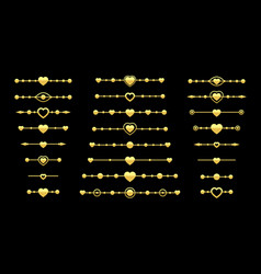 divider heart arrow valentine page love text gold vector image