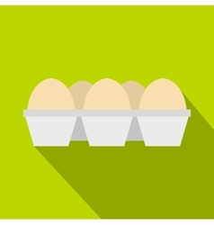Eggs in carton package icon flat style vector