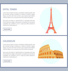 eiffel tower and colosseum vector image