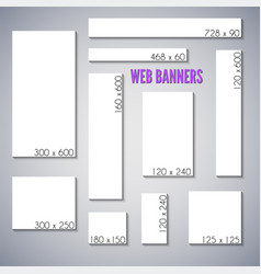 empty box standard size web banners set vector image