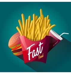 Fast food poster design isolated vector image