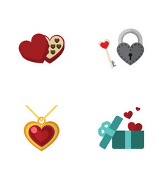 flat icon heart set of necklace key gift and vector image