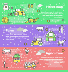 flat line art farming banner set vector image