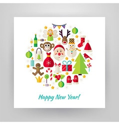 Flat Style Circle Set of Happy New Year Objects vector image
