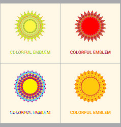 Floral emblems round decorative ornaments bright vector