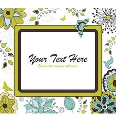 Floral Retro Frame for Your Text vector image