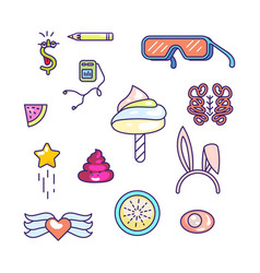 fun doodles icons vector image
