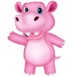 Funny cartoon hippo waving vector image