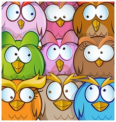 funny owl cartoon background vector image
